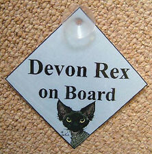 DEVON REX ON BOARD - CAT IN CAR LAMINATED SIGN FROM PAINTING BY  SUZANNE LE GOOD