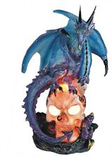 8 Inch Blue Dragon Standing on Skull Figurine Figure Statue Fantasy Magic