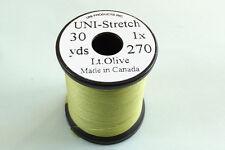 1x30 yards Fil montage FLOCHE UNI STRETCH OLIVE 1-0 truite peche mouche thread