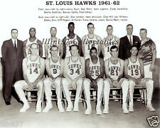 1961-62 ST. LOUIS HAWKS 8X10 TEAM PHOTO LENNY WILKINS PETTIT LOVELLETTE HAGAN