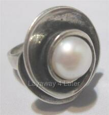 """Silpada """"Lily Pearl"""" Sterling Silver Swirl Pearl Size 5 Artisan Ring R2121"""