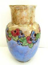 "Royal Doulton Glazed Floral & Leaf Vase Nouveau 11.5"" Tall, 21.5"" Circumference"