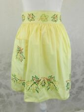 Vintage Half Apron Yellow Embroidered Leaves Thanksgiving Pocket Hand Made