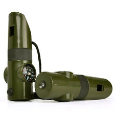 7in1 Camping Survival Whistle Compass Thermometer Magnifier LED Flashlight