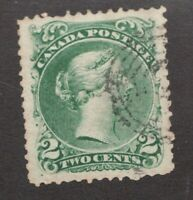Canadian 1868 Victorian 2 cent postage stamp #24 ~  used ~ VF ~ Superfeas