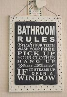 Wall Plaque Bathroom Rules Humourous Sign Slate Black And Cream 18cm F1552