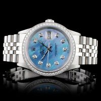 ROLEX CERTIFIED MENS SS DATEJUST JUBILEE 1.25CT DIAMOND 36MM WRISTWATCH