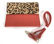 STREET LEVEL Fold-Over Convertible Clutch Handbag Purse Leopard/Orange USED ONCE