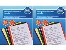 30 DIN A4 Schnellhefter gelocht O-fiz Qualitätsfolie  5 Farben reißfest robust