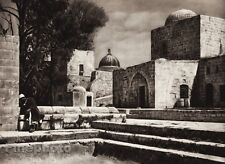 1925 Vintage JERUSALEM Temple Place Man Cityscape Architecture ISRAEL Palestine