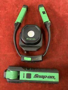 SNAP ON LED TORCH NECK LIGHT MAGNETIC GREEN GARAGE WORKSHOP RECHARGEABLE