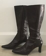 Pre-owned Brown Leather DIANA FERRARI Long Knee High Boots Size 9