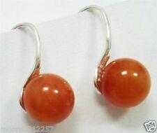 Natural AAA 8mm orange jade Sterling Silver Hook Earrings