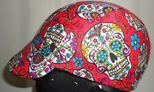 Cycling cap reversible wool color black / red skull cotton one size or any size