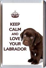 Restez Calme et Aimez Votre Labrador Image d'un, Chiot labrador Marron Aimant frigo