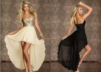Sexy Long Chiffon Evening Dresses Women's Formal Dance Party Strapless Dresses