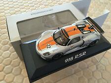 PORSCHE 918 SPYDER RSR RACE CAR 1:43rd LIMITED EDITION MODEL MINICHAMPS NEW.