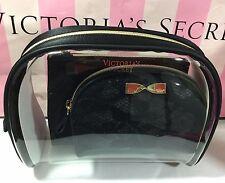 VICTORIA'S SECRET CLEAR & SATIN TRIO MAKEUP BAG GOLD BOW CASE COSMETIC SET NWT