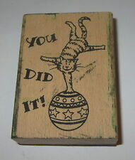 You Did It Rubber Stamp Cat Ball Balancing Teacher Grading Papers School Aide