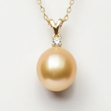 14k Yellow Gold AAA Oval Golden South Sea Cultured Pearl Pendant 11.6*10.8mm