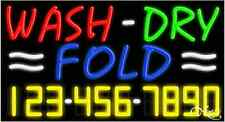 """NEW """"WASH-DRY FOLD"""" w/YOUR PHONE NUMBER 37x20x3 NEON SIGN W/CUSTOM OPTIONS 15118"""