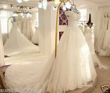 2018 Lace Off-Shoulder White/Ivory A-Line Wedding Dress Bridal Gown Custom Size