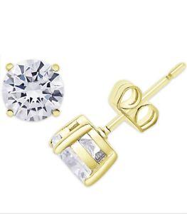 $65 macy fine silver plate Gold  TW 3 Cr CZ  Round Stud EARRINGS JA67