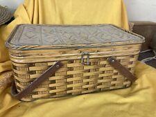 Vintage Litho Picnic Metal Tin Basket Faux Wicker Wood Handles Bread Box 60's