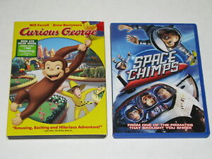 Lot of 2 DVD Will Ferrell Curious George & Space Chimps Movie A Barrel of Fun EC