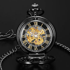 Roman Skeleton Black Mechanical Men's Pocket Chain Fob Watch Steampunk Vintage