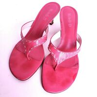 Pink Flip Flop Thong Size S Leather stacked Heels White Stitching Michelle D GUC