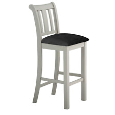 Grey Bar Stool Padded Upholstered Seat Cushion Solid Wood Kitchen Dining Room