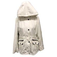 Guess Women's Lightweight Rain Jacket Multi Pocket Zipper An Button Hooded Large