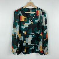 Basque Womens Top Size 10 Multicoloured Abstract Long Sleeve V-Neck