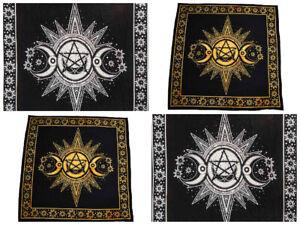 Altar Cloth Triple Moon Pagan Yellow or Black & White 105x105cm