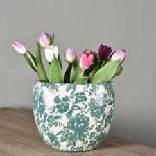 Large Green & White Dutch Oval Vase Planter. Thick Crackle Botanical Shabby Chic