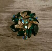BEAUTIFUL LARGE VINTAGE EMERALD GREEN FACETED GLASS AB RHINESTONE PIN BROOCH M4