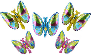 5pcs Mix Mini Butterfly Foil Balloons Pink Blue Yellow Birthday Party decoration