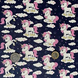 Unicorn Print Cotton Poplin Fabric for Children's Clothing Crafting Quilting UK