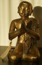 Ancienne Sculpture en Bois d'un Moine ou Bouddha - Thaïlande