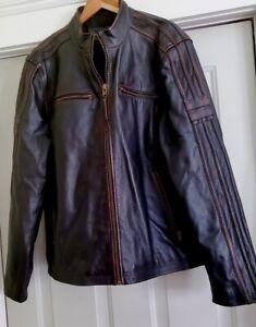 Vintage Black Rivet Black Leather Moto Jacket - Size XL