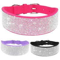 Strasshalsband Hundehalsband mit Strasssteine Bling Halsbänder 3 Farben S M L