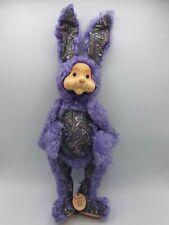 Robert Raikes Signed Wooden Face Purple Paisley Easter Rabbit