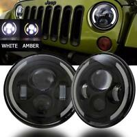 "2X 7"" inch 600W LED Headlight Hi/Lo Beam Halo DRL For JEEP Freightliner Century"