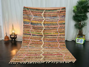 "Boujad Handmade Moroccan Vintage Rug 6'x6'6"" Colorful Striped Berber Wool Carpet"