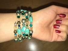 NEW! Green and Turquoise Wrap Around Beaded Bracelet Cuff