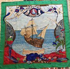 BELLISSIMO Hermes Christophe fece l'America 1492 Sciarpa 100% SETA Francia