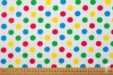 Multi Coloured Spots on White Poly Cotton Fabric -pudsey Bear / Children in Need