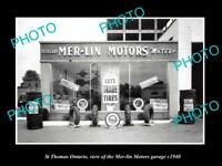 OLD LARGE HISTORIC PHOTO OF ST THOMAS ONTARIO, THE MERLIN MOTOR GARAGE c1940