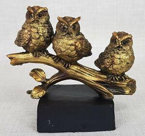 Owls on Tree Branch Bronze Resin Statue Ornament Figurine Sculpture Décor 16 cm